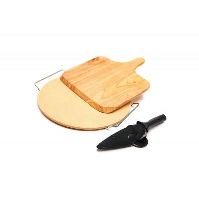 Камень для выпечки 38 см с лопаткой и ножом, Grill Pro