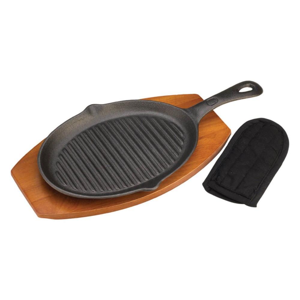 Чугунная сковорода с деревянной подставкой Grill Pro